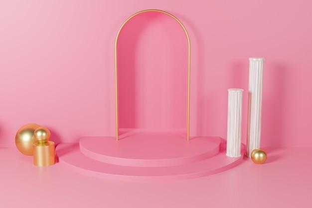 Elegantie 3d-rendering podium display achtergrond mockup