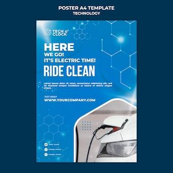 Elektrische auto poster sjabloon
