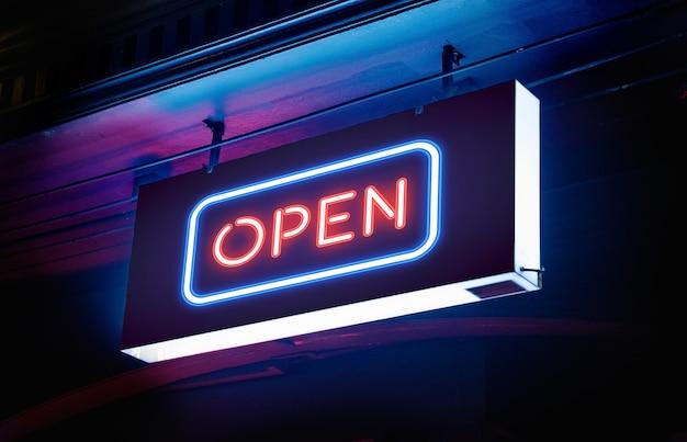 Elektrische neon 'open' bewegwijzering