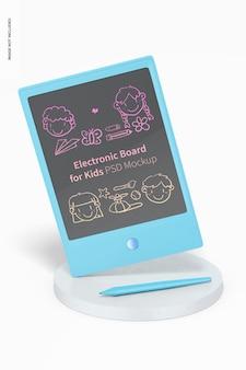 Elektronisch bord voor kinderen mockup, geleund
