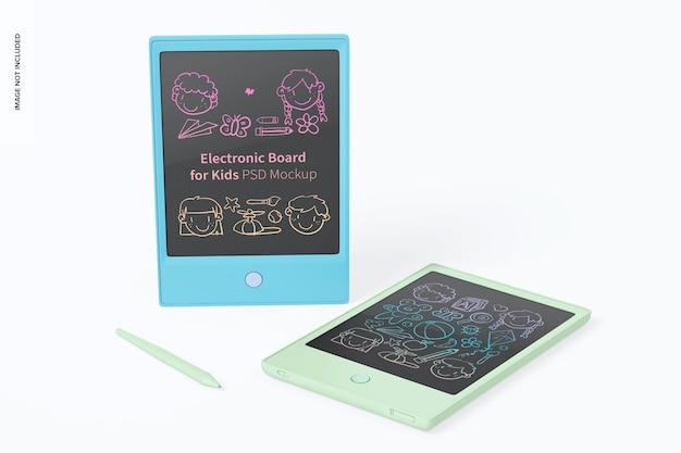 Elektronische borden voor kinderen mockup, staand en neergelaten