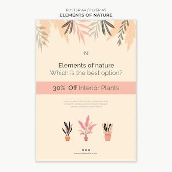 Elementen van de afdruksjabloon van de natuur