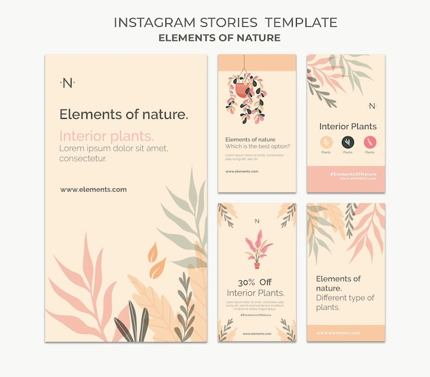 Elementen van de natuur sociale media verhalen