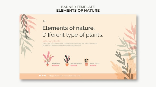 Elementen van de sjabloon voor spandoek van de natuur