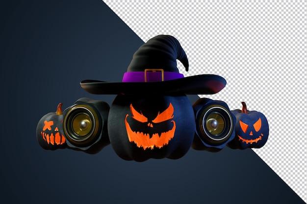 Elemento de halloween de calabazas de renderizado 3d para cartel de evento y flye
