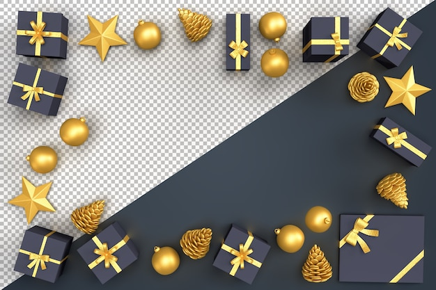 Elementos decorativos navideños y cajas de regalo formando un marco rectangular.