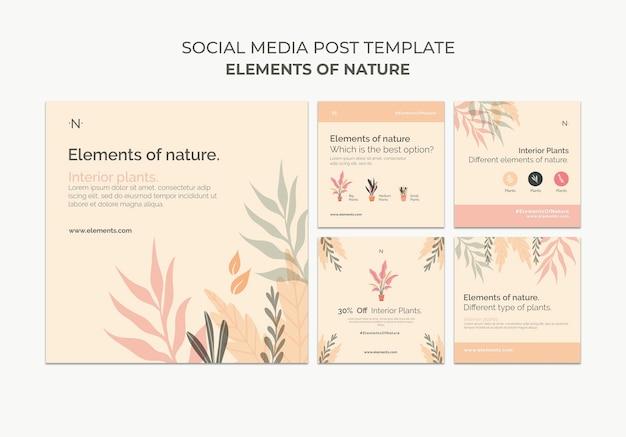 Elementos de publicaciones en redes sociales de la naturaleza