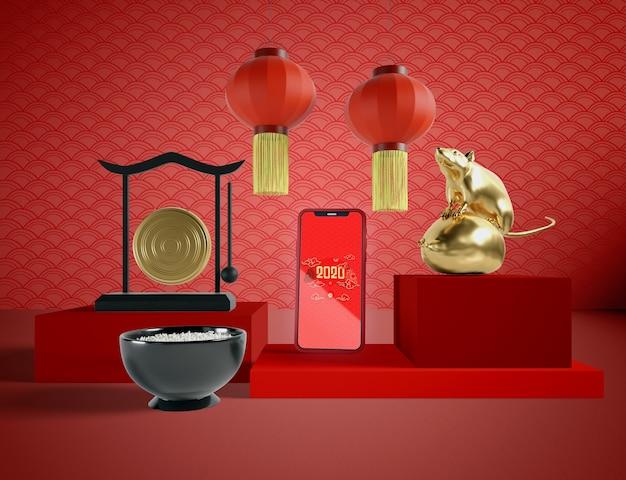 Elementos tradicionales chinos y maquetas telefónicas
