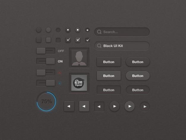 Elementos web negro con caja de entrada y acceso al sitio