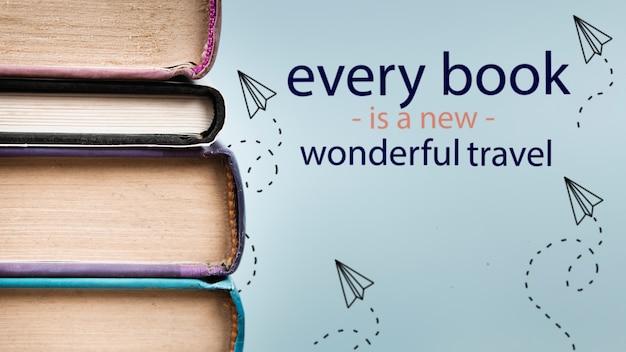 Elk boek is een nieuwe prachtige reiscitaat met boeken