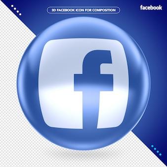 Ellips 3d blauw facebook-logo voor compositie