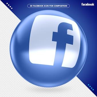 Ellips 3d blauwe facebook voor compositie