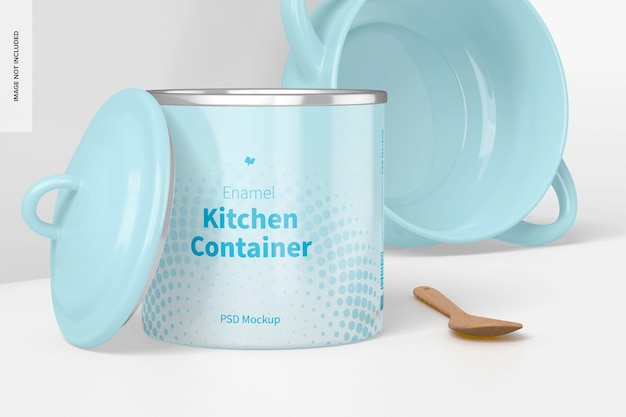Emaille keukencontainer mockup