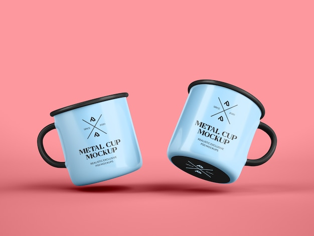 Emaille koffiemok cup mockup
