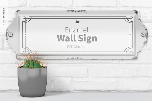 Emaille wandbord mockup, hangend