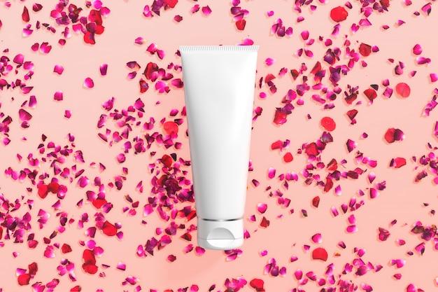 Embalaje de cosméticos maqueta cuidado de la piel flor