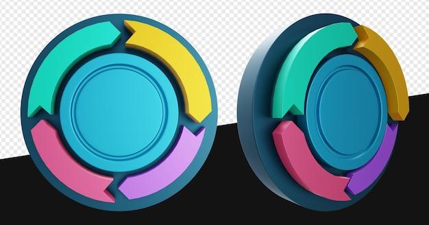 Embleem of kleurrijke cirkeldiagram stroom geïsoleerd