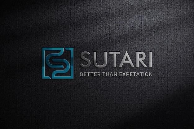 Emblematisch 3d-logo mockup op donkere stof