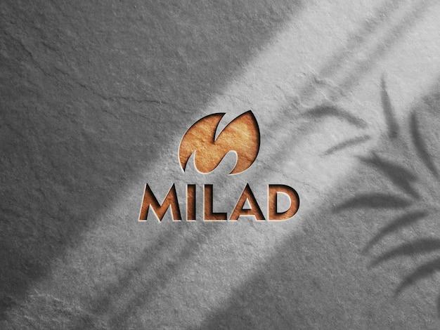Emboss logo mockup 3d-weergave