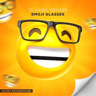 Emoji bril label 3d render ontwerp