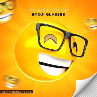 Emoji bril label 3d render ontwerp Gratis Psd