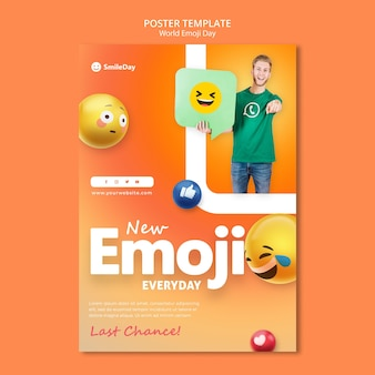 Emoji-dag afdruksjabloon