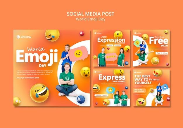 Emoji-dag posts op sociale media