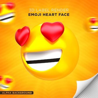 Emoji gezicht hart 3d render