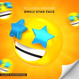 Emoji gezicht ster 3d render