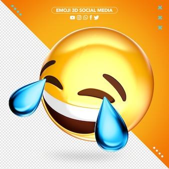 Emoji huilen van vreugde 3d voor compositie