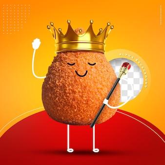 Emoji kippenbeen met kroon en koningen personeel