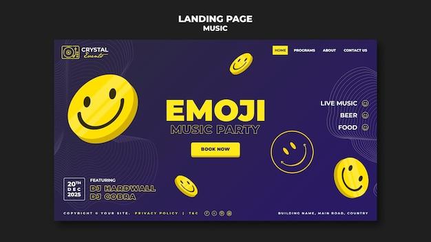 Emoji-muziekfeest bestemmingspagina sjabloonontwerp Gratis Psd