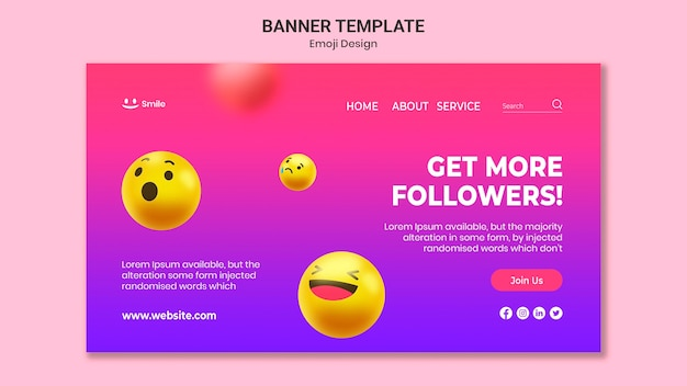 Emoji-ontwerpsjabloon voor spandoek