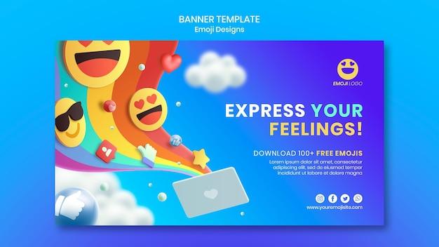 Emoji-ontwerpsjabloon voor spandoek Gratis Psd