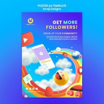 Emoji poster ontwerpsjabloon Gratis Psd