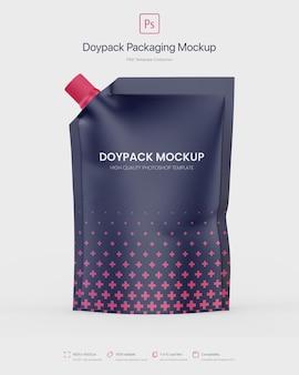 Empaque doypack con maqueta de caño de esquina