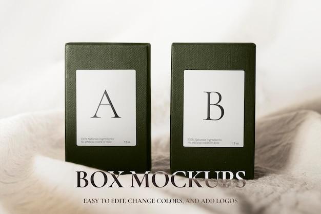 Empaquetado de maqueta psd de caja de producto en estilo minimalista
