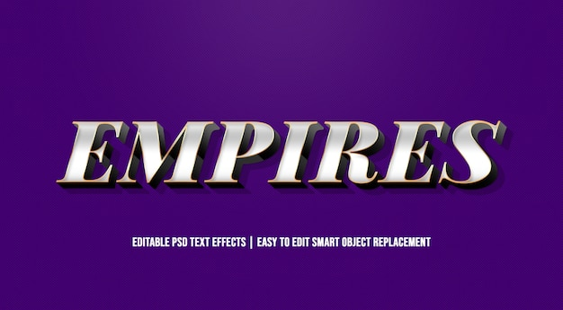 Empires silver text effect premium psd