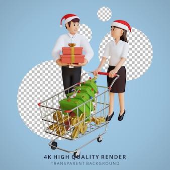 Empleado 3d sentado ilustración de personaje fiesta de navidad de año nuevo