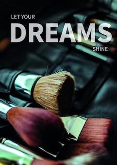 Empoderamiento de las mujeres carrera plantilla psd cartel maquillador cita inspiradora