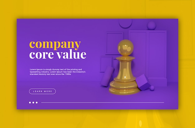 Empresa core value 3d ilustración peón de ajedrez
