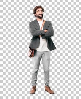 Empresario barbudo joven vistiendo chaqueta. expresión de orgullo o éxito