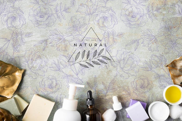 Endecha plana de cosméticos naturales para el cuidado de la piel