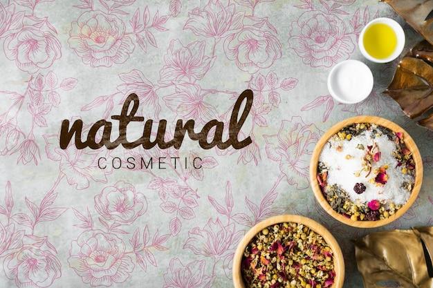 Endecha plana de cosméticos naturales para el cuidado de la piel.