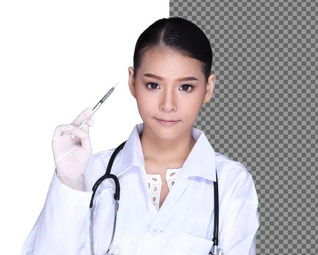 La enfermera presenta la vacuna covid-19 en una jeringa de insulina para una dosis. vacunación lista para curar y detener la pandemia de coronavirus. conceptos médicos y de salud