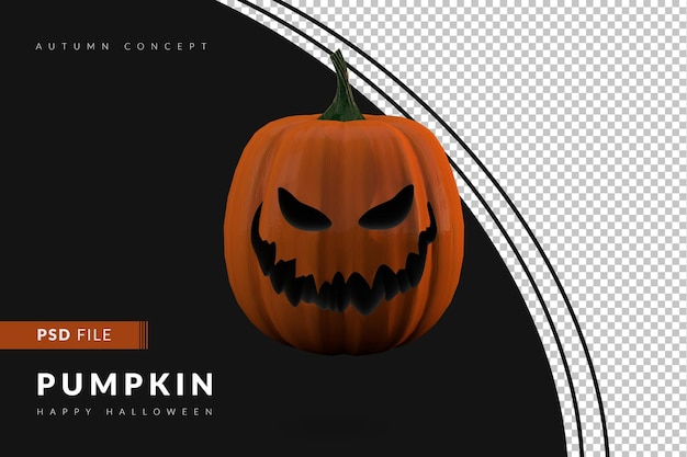 Eng gezicht van halloween pompoen 3d render