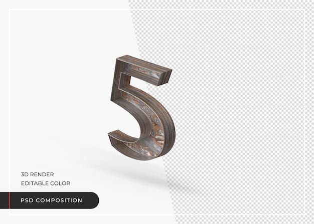 Engels nummer 5 geïsoleerd gemaakt van boomschors in 3d-rendering