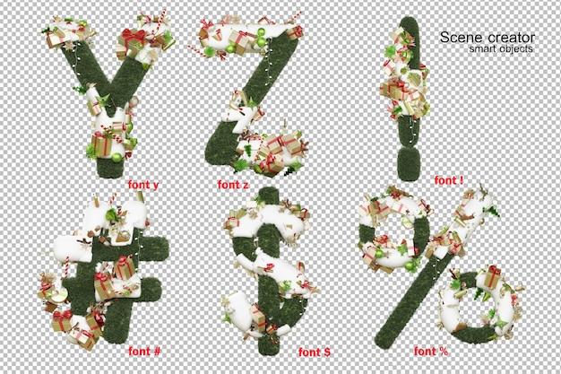 Engelse lettertype kerstdag 3d illustratie