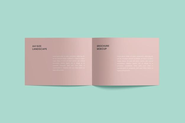 Enkel geopend liggend tweevoudig brochuremodel