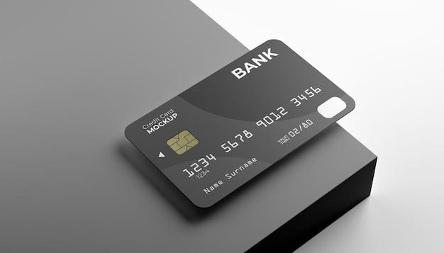 Enkele creditcard mock-up met podium achtergrond.